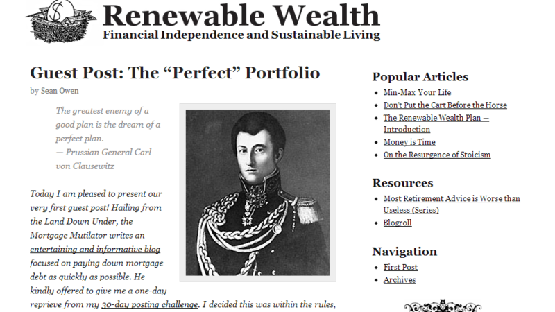 "Renewable Wealth Guest Post – The ""Perfect"" Portfolio"